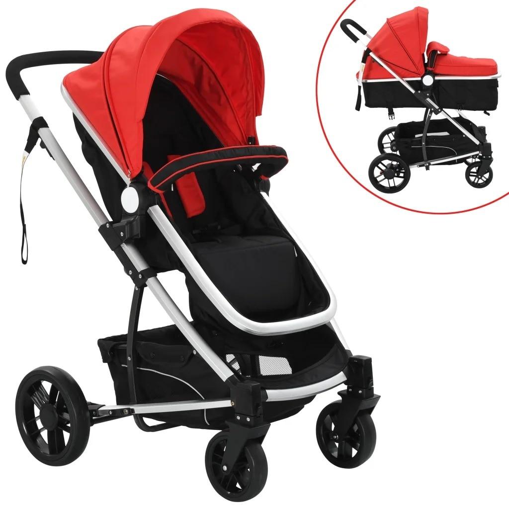 VidaXL 2-In-1 Baby Stroller / Pram Red And Black Aluminum 10105