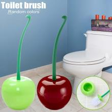 Innovative Cherry Shaped Toilet Cleaning Brush Set Bathroom Accessories Head Random Color Delivery
