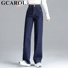 Denim Pants Leg-Jeans GCAROL High-Waist Wide Plus-Size Women Autumn Spring Cotton Fleece
