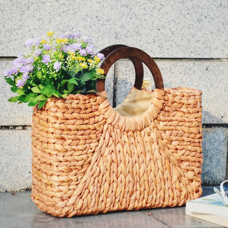 2019 New Women Fashion Straw Handbag Shoulder Bag Shopping Beach Travel Crossbody Bag Wood Handle Casual Large Capacity Tote Bag