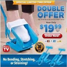 1pc sock slider ajuda azul helper kit ajuda ajuda a colocar meias fora nenhuma sapata de dobra chifre adequado para meias suporte de cinta de pé