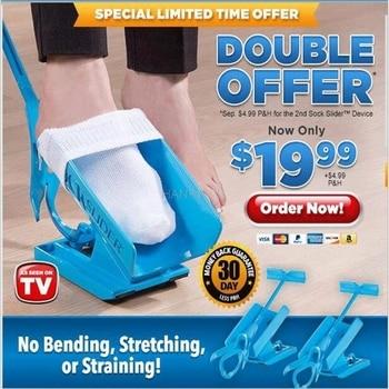 1pc Sock Slider Aid Blue Helper Kit Helps Put Socks On Off No Bending Shoe Horn Suitable For Socks Foot Brace Support