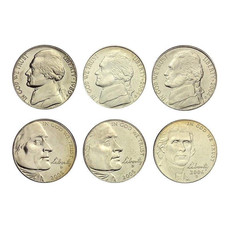 Estados unidos 5 centavos jefferson moeda comemorativa 6 conjunto completo emitindo moedas moeda original 100% real unc