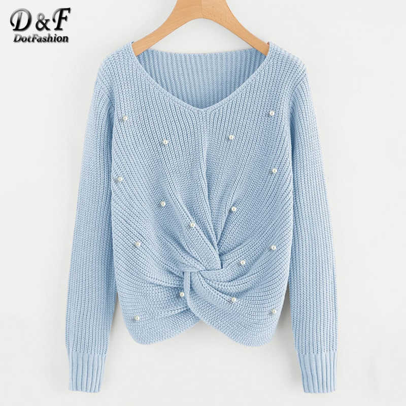 Dotfashion Blue Pearls Beading Sweater Women 2019 Autumn Front Twist Detail Crop Sweaters Ladies Casual V Neck Top