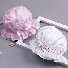 Милая Детская унисекс шляпа в горошек с бантом, Панама с широкими полями, Солнцезащитная уличная Кепка