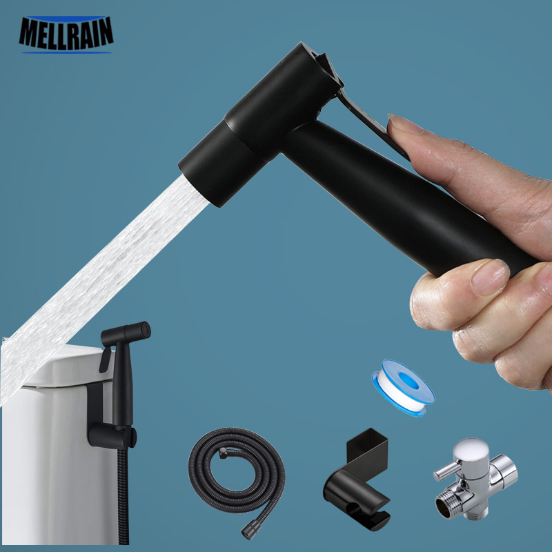 Black Toilet Bidet Sprayer Kit. Set Hand Hold Stainless Steel Shattaf For Bathroom Personal Cleanse Bidet Faucet
