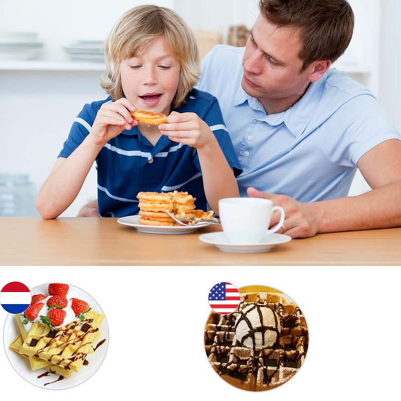 Portable Non Stick Waffle Maker Machine With Made Of Aluminum Alloy For Home Kitchen 17