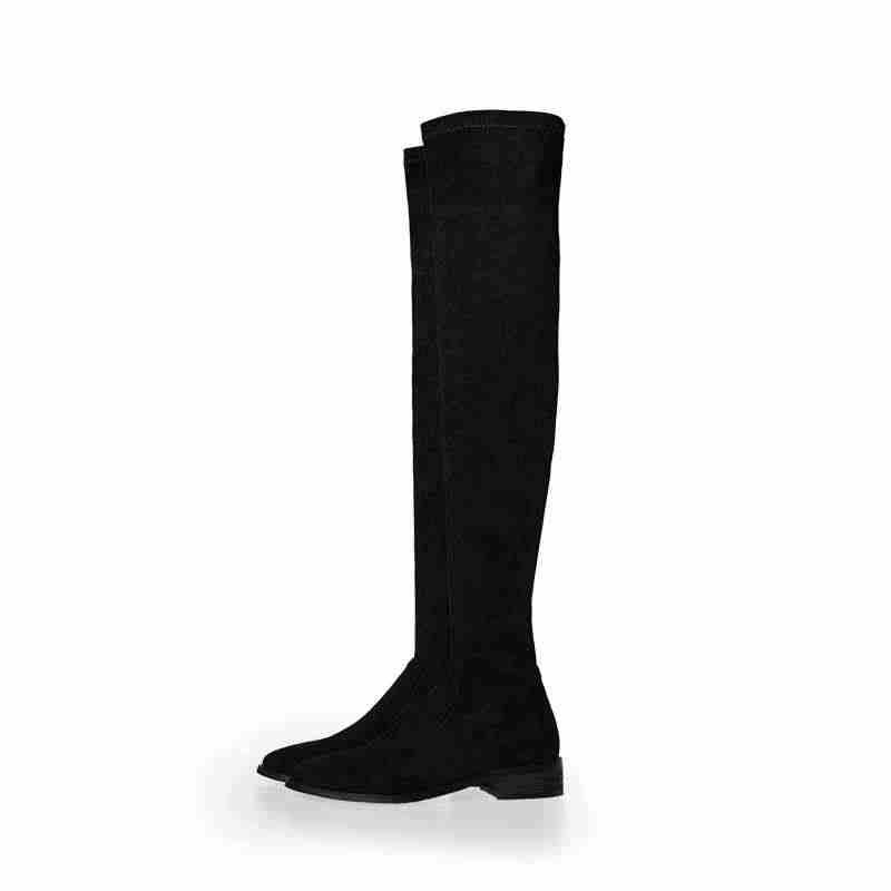 Krazing Pot yuvarlak ayak düşük topuklu kış moda basit tarzı akın streç çizmeler sıcak tutmak katı kadın üstü diz botları L3f6