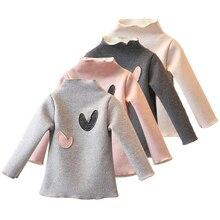 Рубашка для девочек, теплая футболка с длинными рукавами для девочек, милая детская футболка на весну-осень для девочек