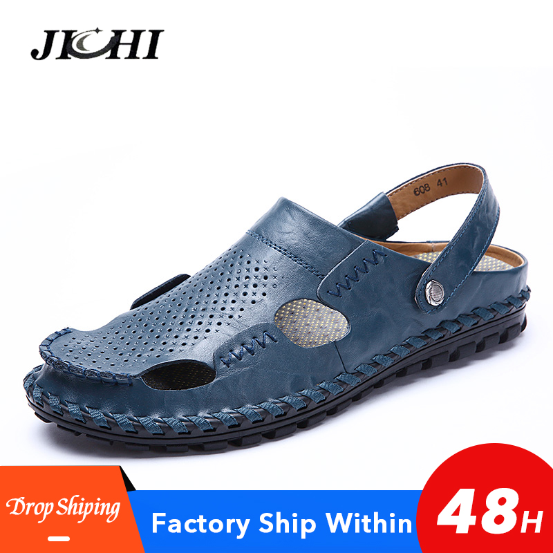 Breathable Mens Sandals Summer Outdoor Lightweight Mens Sandals Genuine Leather Comfort High Quality Casual Men Sandals Flat