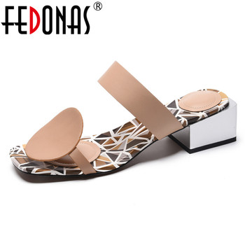 FEDONAS Genuine Leather Women Sandals Spring Summer New Fashion Party Shoes Woman Casual Slippers Female Prom High Heels Pumps
