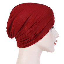 Home Elegant Solid Muslim Turban Fashion Cover Cross Forehead Casual Women Hats Elastic Cloth Hair Accessories Shopping Portable(China)