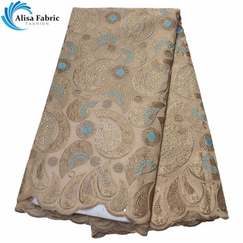 Alisa Hot Selling Gold Color 100% Cotton Lace Fabric Fashion Nigerian Lace Fabric 5 Yards/pcs For Sewing Party Dress B977831-40C