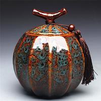 Pumpkin Style Tea Jar Ceramic Tea Barrel Black Tea Sealed Tank Storage Tank Puer Teacaddy 5 Color Optional Onsale