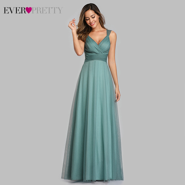 Spakle Prom Dresses Long Ever Pretty A-Line V-Neck Ruched Elegant Cheap Tulle Evening Party Gowns Vestidos Largos Fiesta 2020 4