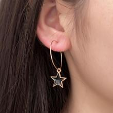 Hot Europe And The United States Tide Fashion New Earrings Black Soft Sister Temperament Retro Five-pointed Star Ladies