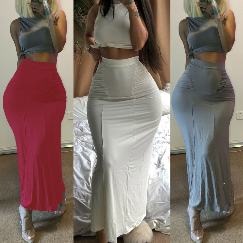 Fashion Women Sexy Bodycon Pencil Skirts Seamless Elastic Skinny Ladies Slim Pleated Maxi Long Skirt Sheer Black White Red Grey