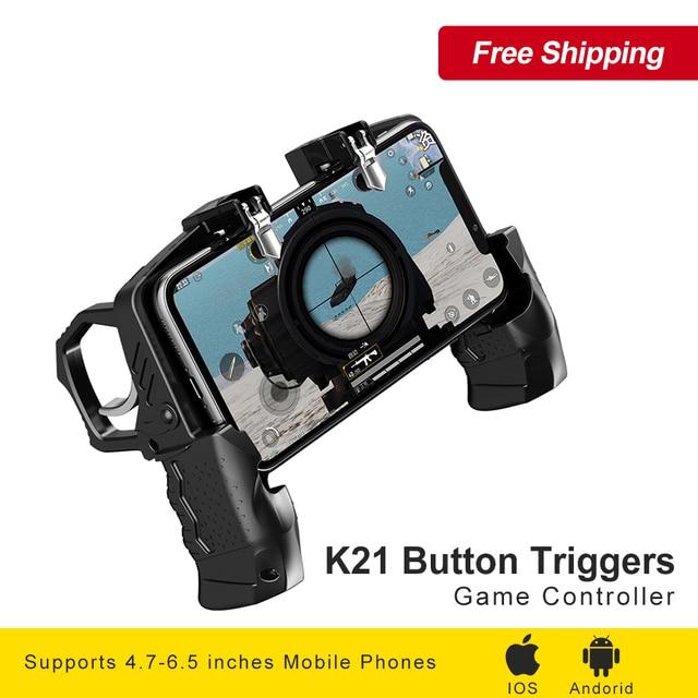 K21 Кнопка Триггеры Оборудование для сотового телефона Dzhostik PUBG Мобильный Джойстик Gamepad Game Controller для iPhone Android Gaming Четыре триггера геймпад для PUBG Мобильный контроллер Gamepad Джойстик телефона