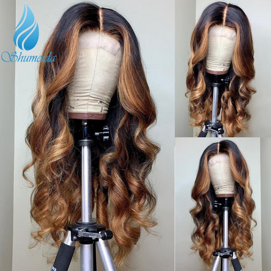 13*6 ombre frente do laço perucas 150% densitymiddle relação peruano remy perucas de cabelo humano do bebê destaque cor glueless perucas do laço