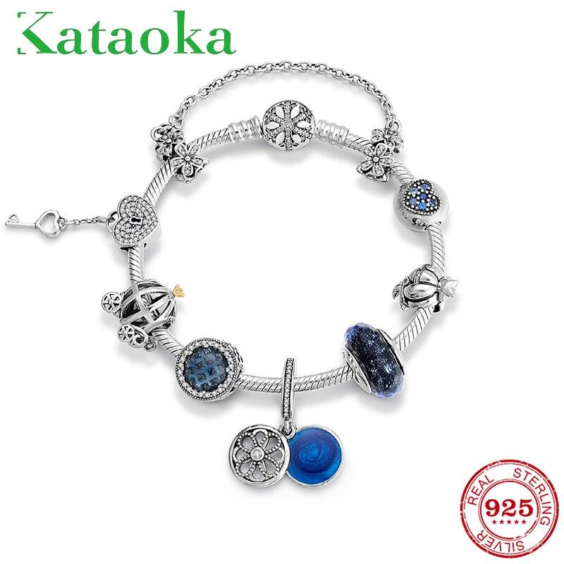 Nouveau Bracelet de perles en argent Sterling 925 avec breloque bleue pour femmes CZ perles coeur avec serrure et porte-clés pour femme