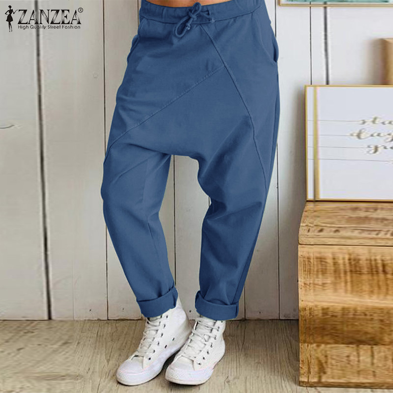 ZANZEA Women Drop-crotch Pants Ladies Pockets Drawstring Trousers Female Casual Long Pantalones Bottoms Streetwear Plus Size 5XL