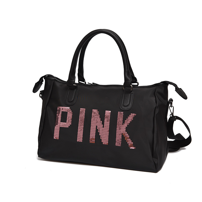 Waterproof Oxford Cloth Travel Bag Pink Sequin Gym Bag Short Trip WOMEN'S Handbag Sports Bag Large Capacity Duffel Bag