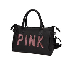 Waterproof Oxford Cloth Travel Bag Pink Sequin Gym Bag Short Trip WOMEN'S Handbag Sports Bag Large Capacity Duffel Bag