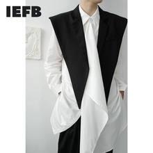IEFB/gilet noir pour hommes, sans bouton, gilet noir assorti de style châle, 9Y3233