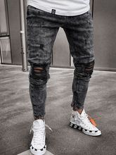 Men Broken Hole Clothes Hip Hop Sweatpants Skinny Motorcycle Denim Pants Zipper Designer Black Jeans Mens Casual Men Trousers(China)