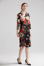 Europe&America women high quality floral print dress 2019 autumn fashion half sleeves elegant dress B013 black random floral print half flared sleeves mini dress