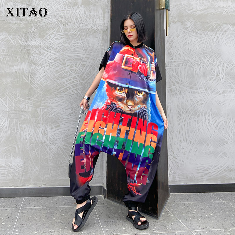 XITAO Trend Hip Hop Jumpsuit Short Sleeve Plus Size High Waist Slim Printed Thin Section Streetwear Women Clothes 2020 XJ4909