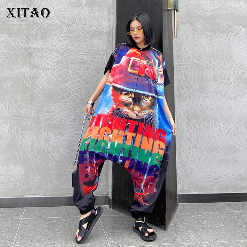 XITAO Trend Hip Hop Jumpsuit Short Sleeve Plus Size High Waist Slim Printed Thin Section Streetwear Women Clothes 2020 XJ4909