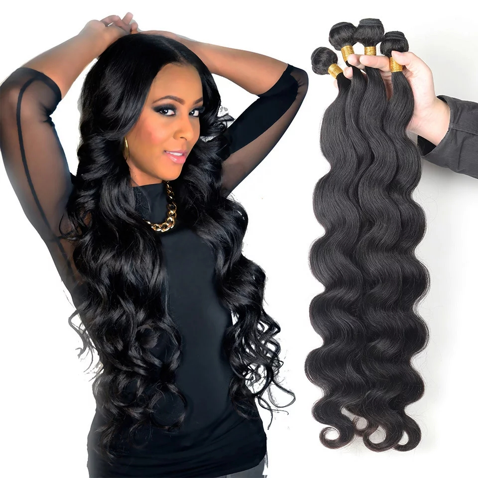 Волнистые пряди натуральных волос, натуральные черные волосы, 4 пряди натуральных волос Remy, черные женские волосы для наращивания