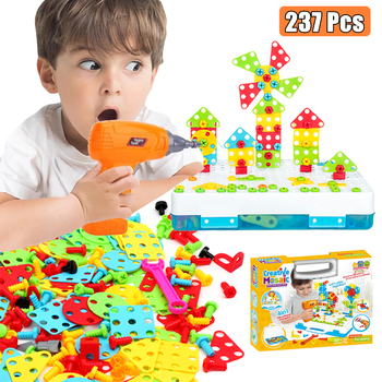 Zabawki chłopięce wiertarka elektryczna zabawki symulacja narzędzie zabawka zmontowany mecz DIY zestaw modeli do składania edukacyjne do budowania zabawek zestawy wkręcanie zabawek tanie i dobre opinie CN (pochodzenie) Z tworzywa sztucznego play with parents 6 lat Unisex Gotuj narzędzie zabawki Elektroniczny lectric Drill Toys