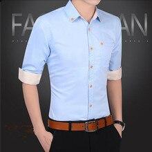 2019 NEW Men's  Button-down Shirt Chest Pocket Smart Casual Classic Contrast Standard-fit Long Sleeve Dress Shirts button down long sleeve pocket shirt