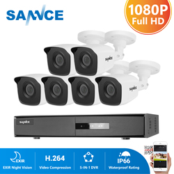 SANNCE 8CH 1080P Lite Video Security System 5IN1 DVR With 6X 8X 1080P TVI Smart IR Outdoor Waterproof CCTV Surveillance Cameras