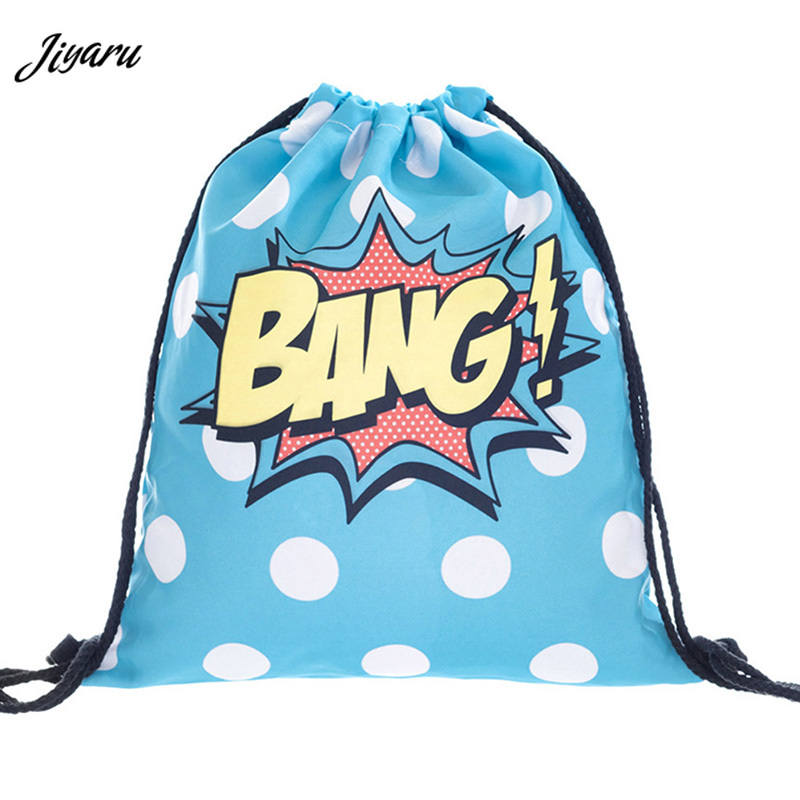 2019 New 3D Printing Drawstring Bags Colorful School Bags For Girls Women Travel Pouch Shoes Cloth Storage Case Organizer Bags
