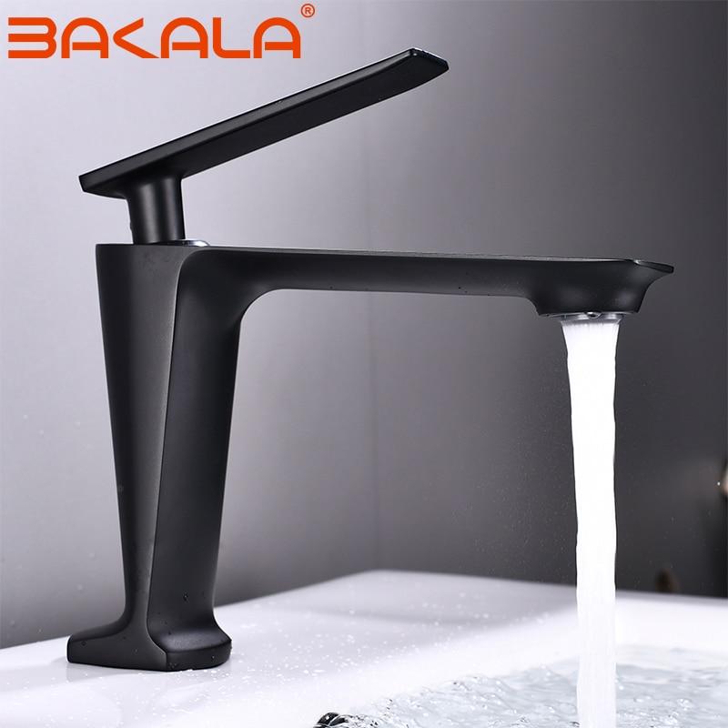 BAKALA Black/White Basin Faucet Contemporary Bathroom Faucet Painted Brass Single Handle Single Hole Hot and Cold Faucet Deck