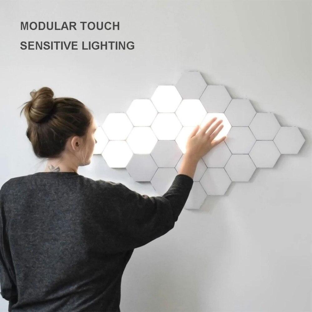 터치 민감한 양자 램프 led 육각 벽 램프 마그네틱 어셈블리 모듈 조명 크리 에이 티브 야간 조명 홈 장식