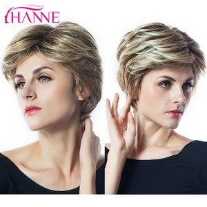 Image 5 - Hanne mix peruca de cabelo sintético, perucas de cabelo sintético, marrom e loiro, alta temperatura, resistente ao calor, peruca afroamericana curta