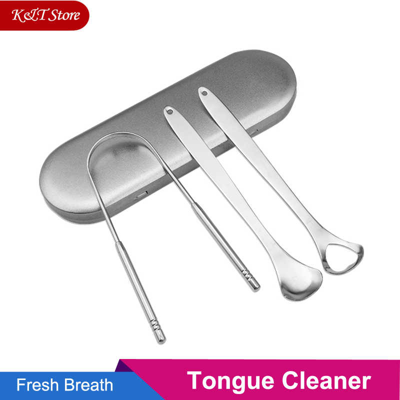 3 pcs tongue cleaner con travel caso a portata di mano in acciaio inox lingua raschietto spazzola di metallo kit dentale oral care dental strumento per gli adulti