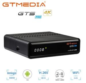 Receptor de satélite GTS pro HD 1080P HD dvb s2 ccam Android 6,0 tv box iptv m3u construido en Wifi 4k BT4.0 PK Gt medios V8 nova
