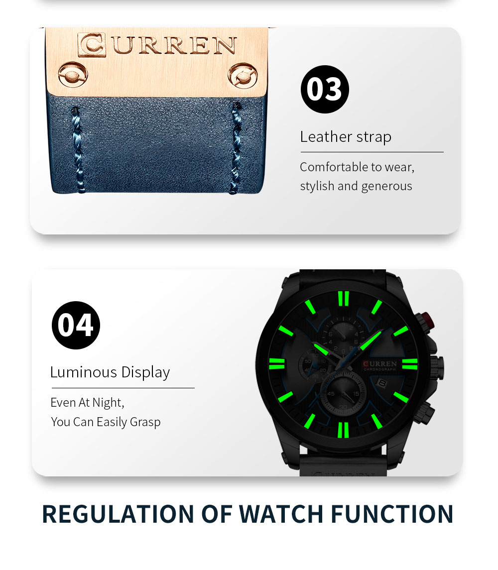H58b53d55387f423ab3250e666a69e304f CURREN  Brand Luxury Men Watch Leather Quartz Clock Fashion Chronograph Wristwatch Male Sport Military 8346 Relogio Masculino