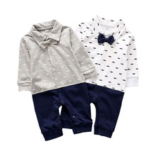 Newborn Baby Fashion Jumpsuit Men and Women Lapel Bow Clothes Cotton Long Sleeve Print Set Autumn
