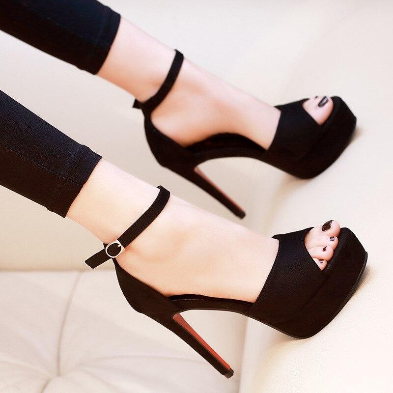 Ladies Shoes 2019 Heels Platform Shoes Woman Pumps Wedding Shoes Super High Heels Platform Black Peep Toe Heels Shoes
