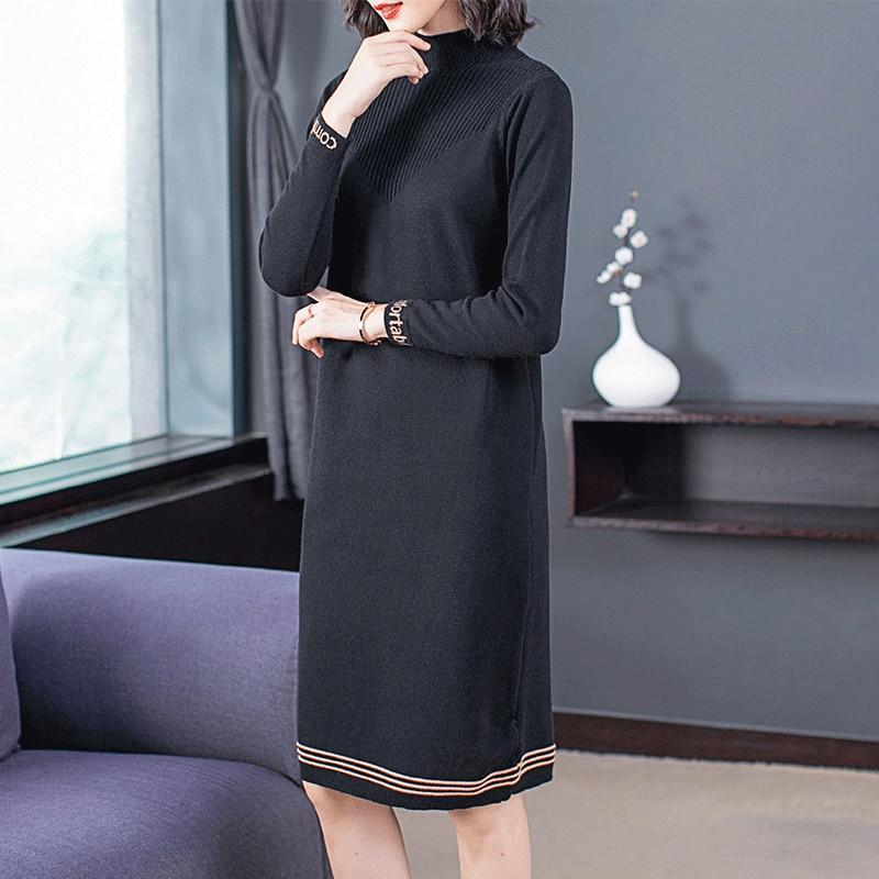 Vestido de mujer de manga larga suelto tejido suéter largo cuello alto Medio sin forro superior vestidos negro albaricoque 8002