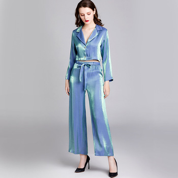 2 Piece Spring Satin Silk Pajama Sleepwear women Sexy Soft Satin Nightgown Pajama Sets Sleepwear Full Sleeve фото