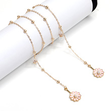 2020 Chic Fashion Simple Gold Color Chain Pink Flower Beaded