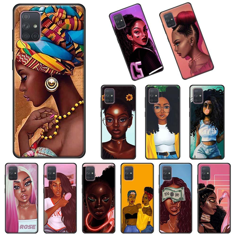 Soft Case For Samsung Galaxy A51 A71 5G A10s A20s A30 A40 A50 A70 A11 A21 A31 A41 A91 Cover Queen Afro Melanin Poppin Black Girl