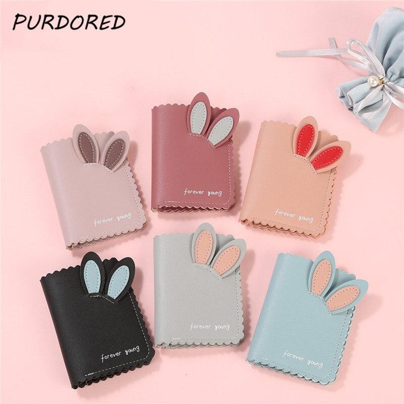PURDORED 1 Pc Cute Rabbit Card Holder 24 Bits Business Card Holder For Women Credit Passport Card Bag ID Passport Card Wallet